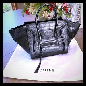 Celine Embossed Medium Luggage Tote